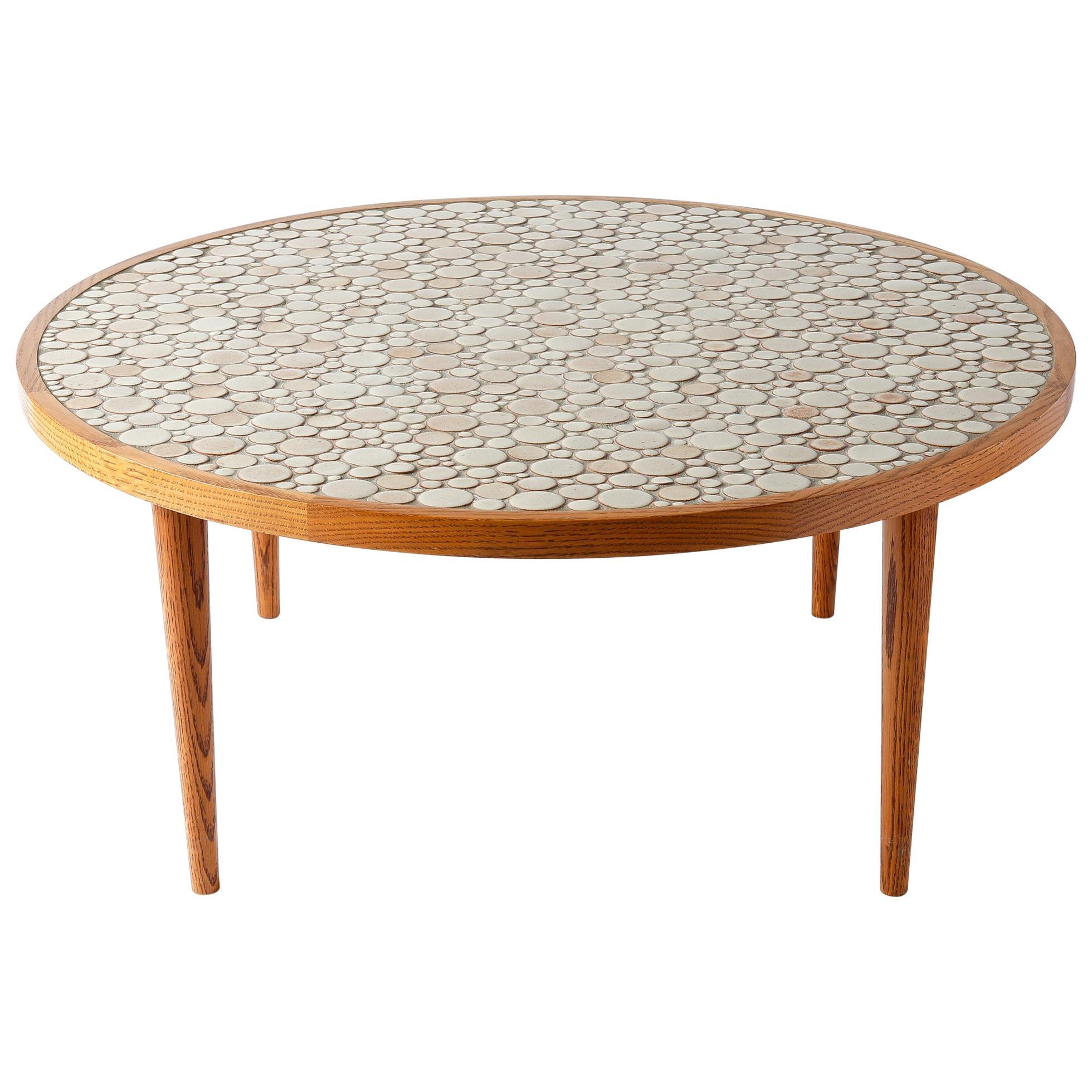 Magnificent Martz Ceramic Tile Top Oak Coffee Table Tan Circles Marshall Studios Machost Co Dining Chair Design Ideas Machostcouk