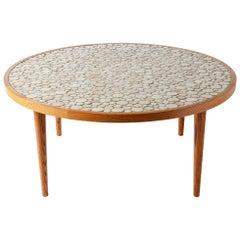Martz Ceramic Tile Top Oak Coffee Table, Tan Circles, Marshall Studios