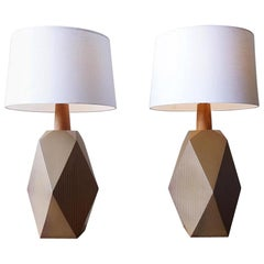 Martz Geometric Ceramic Table Lamps, Pair