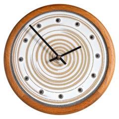 Gordon and Jane Martz Pottery and Walnut Wall Clock for Marshall Studios