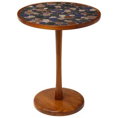 Martz Side Table, Ceramic and Walnut