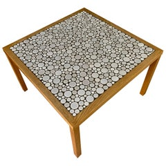 Martz Square Coffee Table in White Ceramic Circular Tiles Set in Charcoal Grout