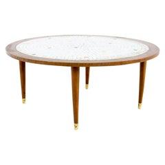 Martz Style Mid Century Round Walnut Mosaic Coffee Table