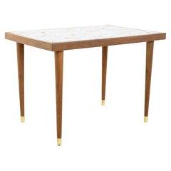 Martz Style Mid Century Walnut Mosaic Side End Table