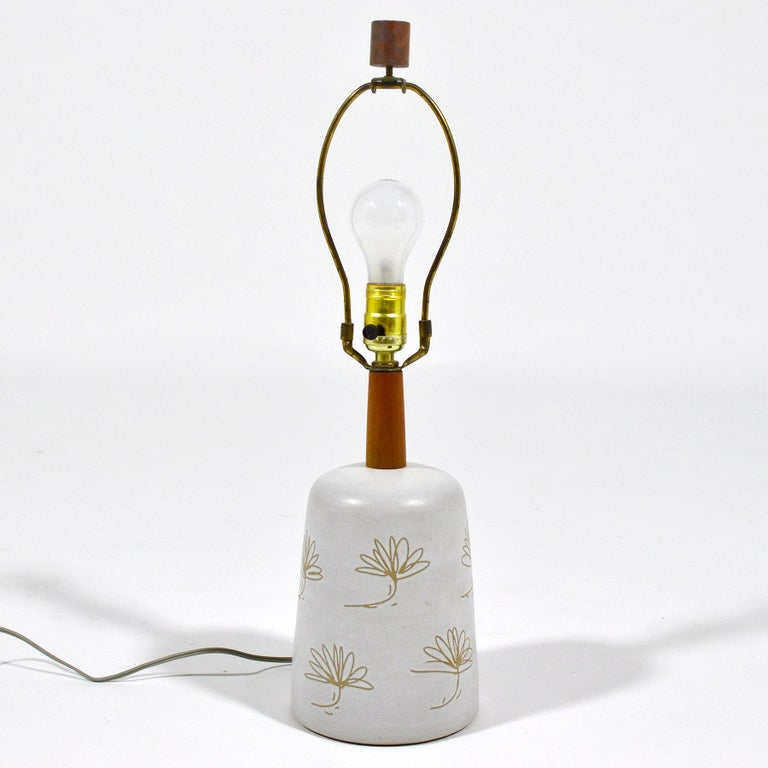 Mid-Century Modern Martz Table Lamp with Floral Sgraffito Decoration For Sale
