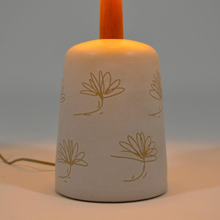 Ceramic Martz Table Lamp with Floral Sgraffito Decoration For Sale
