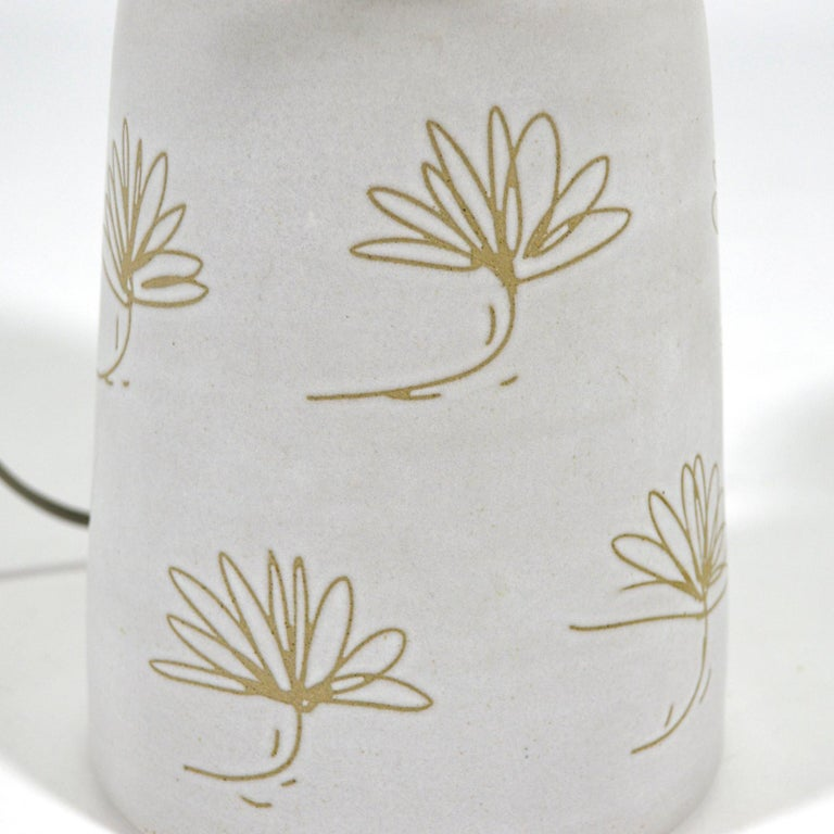 Martz Table Lamp with Floral Sgraffito Decoration For Sale 1