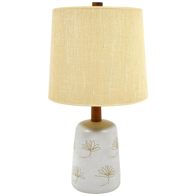 Martz Table Lamp with Floral Sgraffito Decoration For Sale