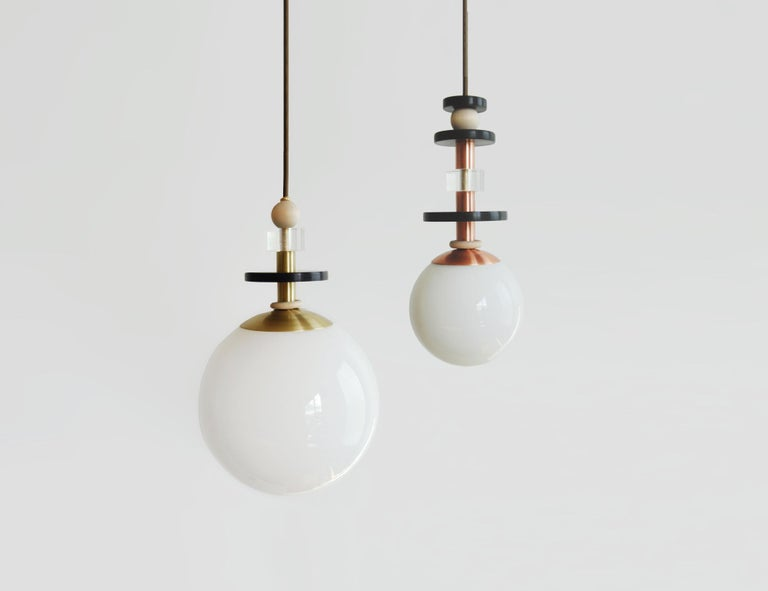 Contemporary Maru Globe Pendant Light with Tall Stack of Beads in Copper or Brass For Sale