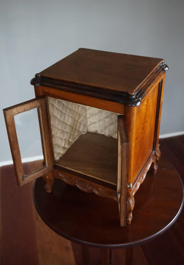 Marvelous 19th Century Handcrafted Louis Quinze Style Nutwood Miniature Cabinet For Sale 7