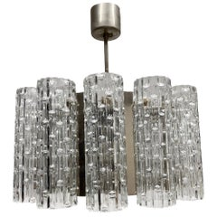 Marvellous Glass Tubes and Chrome Chandelier Venini, Italy, 1960s