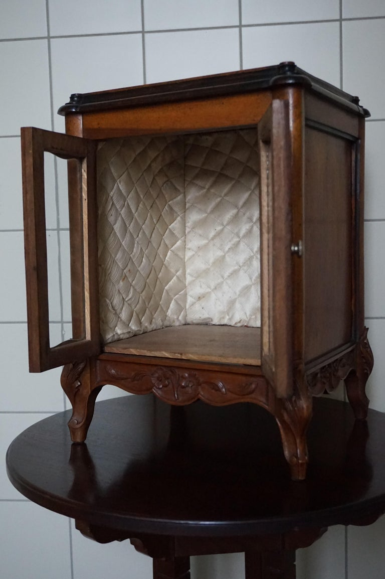 Marvelous 19th Century Handcrafted Louis Quinze Style Nutwood Miniature Cabinet For Sale 6