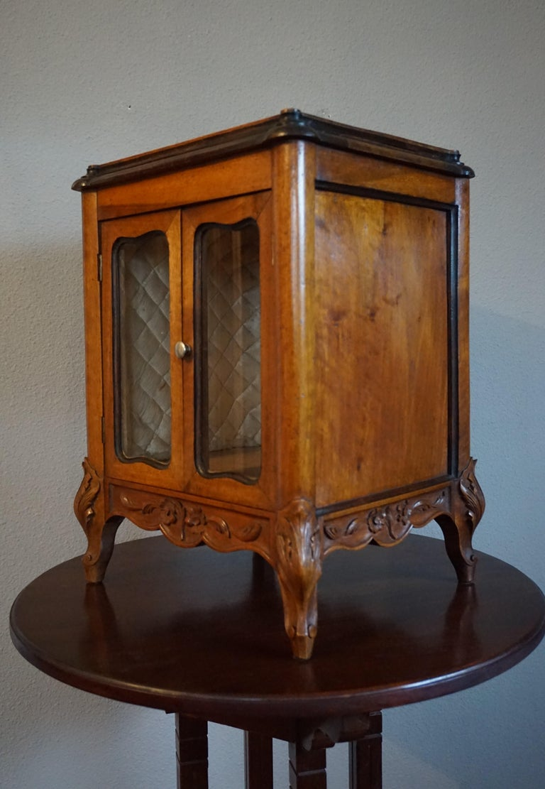 Louis XV Marvelous 19th Century Handcrafted Louis Quinze Style Nutwood Miniature Cabinet For Sale