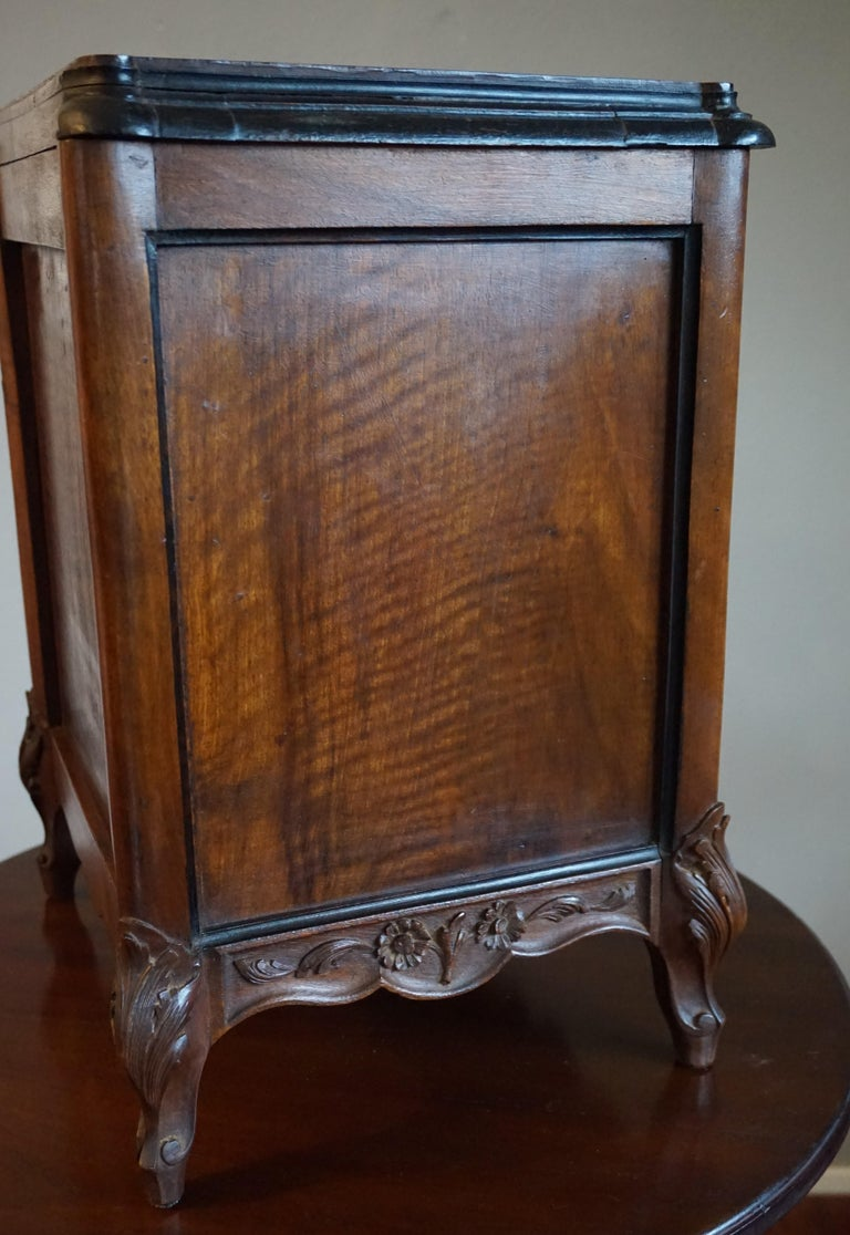 Hand-Carved Marvelous 19th Century Handcrafted Louis Quinze Style Nutwood Miniature Cabinet For Sale