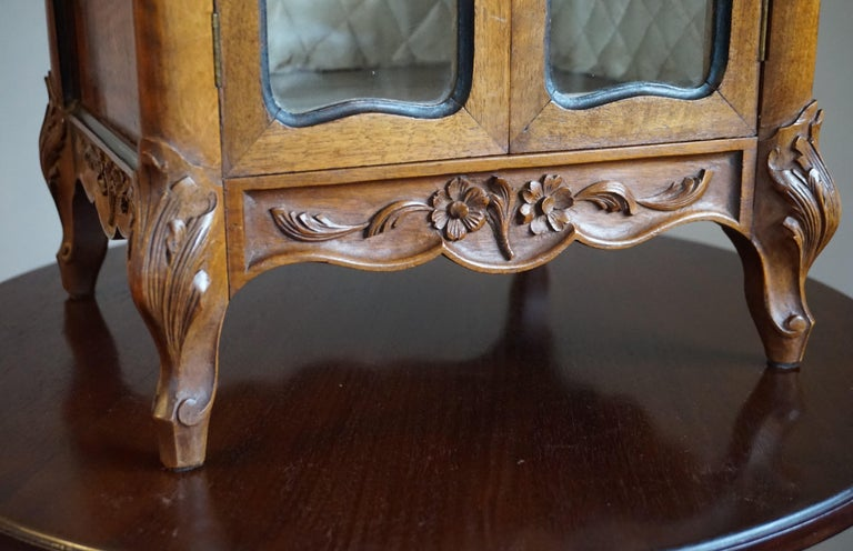 Glass Marvelous 19th Century Handcrafted Louis Quinze Style Nutwood Miniature Cabinet For Sale