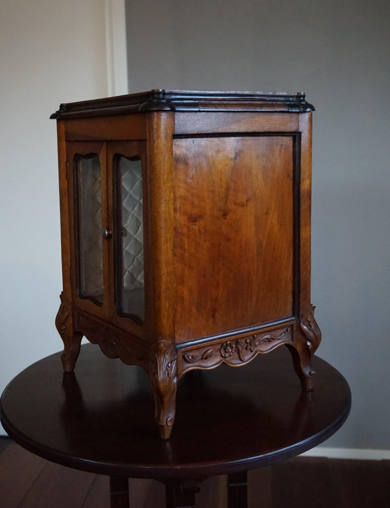 Marvelous 19th Century Handcrafted Louis Quinze Style Nutwood Miniature Cabinet For Sale 2