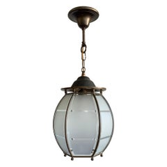 Marvelous Art Deco Design Glass and Brass Entry Hall Pendant Light Fixture