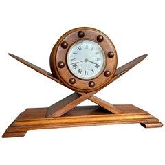 Marvelous Aviation Design Solid Mahogany Art Deco Style Mantel or Desk Clock