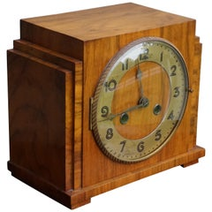 Marvelous Design & Warm Color Burl Walnut Art Deco Mantel Desk or Pendulum Clock