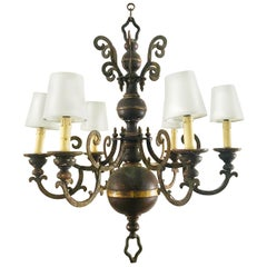 Marvelous French Dark Burgundy Gold and Black Wrought Iron and Metal Chandelier