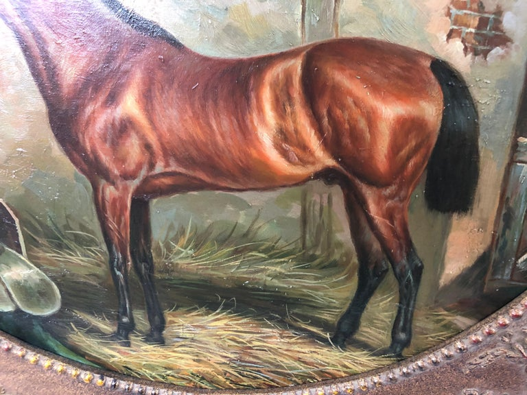 Marvelous Old World Portrait of Horse in Stable For Sale 1
