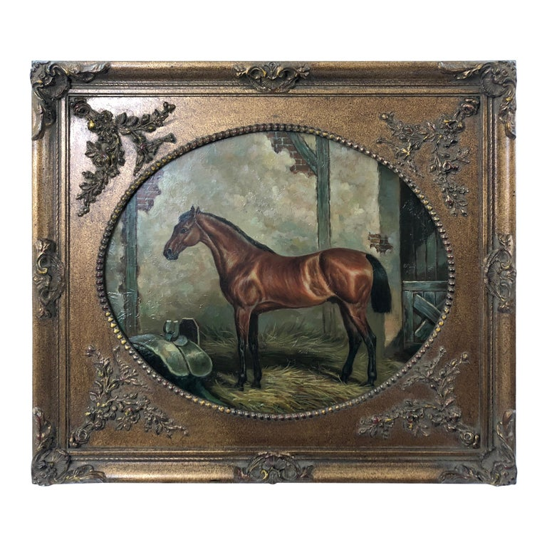 Marvelous Old World Portrait of Horse in Stable For Sale