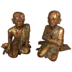 Marvellous Pair of 19th Century Gilded and Gem Encrusted Seated Monk Sculptures