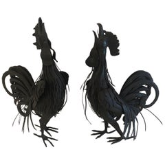 Marvelous Pair of Hand Forged Iron Rooster Sculptures