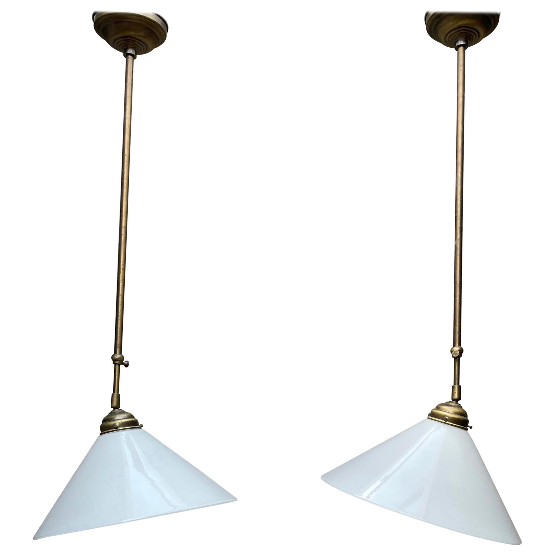 Pair of Midcentury Modern Opaline Glass and Brass Adjustable Pendants