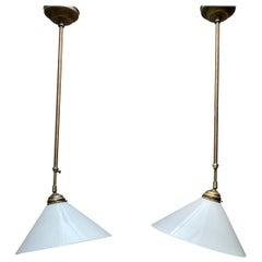 Marvelous Pair of Mid-Century Modern Brass and Opaline Glass Adjustable Pendants