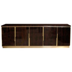 Marvic Sideboard / Buffet in Macassar Ebony Wood and Brass Metal