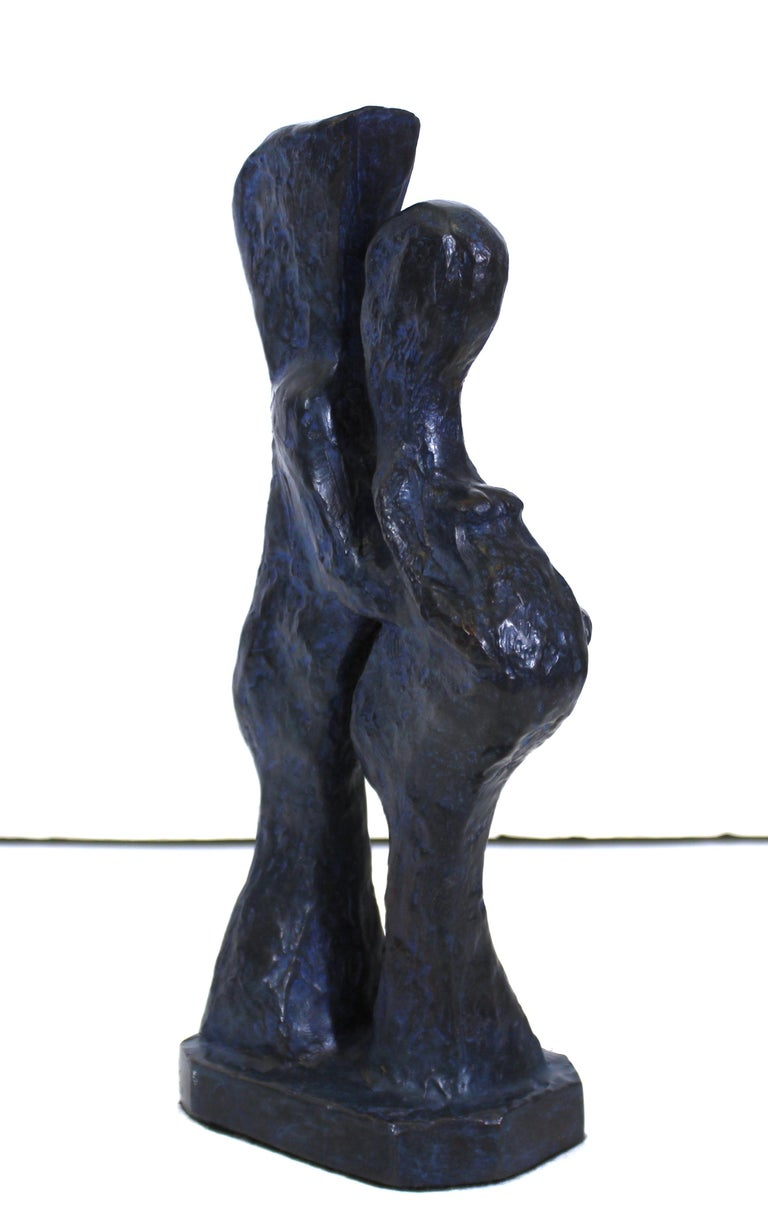 American Marvin Bell Modern Abstract Bronze Sculpture Of Embracing Couple For Sale