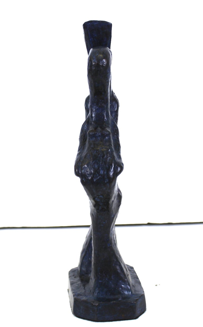 Marvin Bell Modern Abstract Bronze Sculpture Of Embracing Couple In Good Condition For Sale In New York, NY