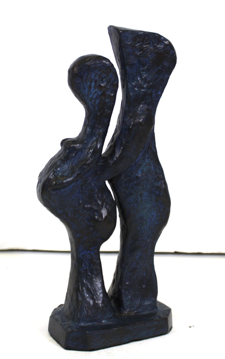 Late 20th Century Marvin Bell Modern Abstract Bronze Sculpture Of Embracing Couple For Sale