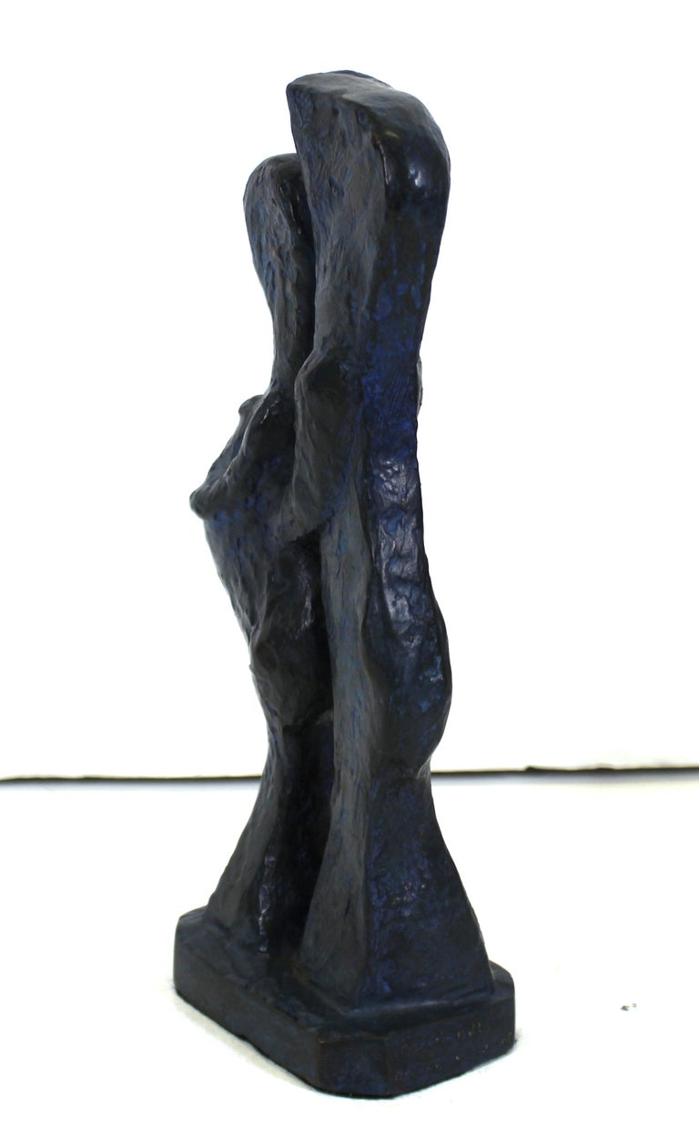 Marvin Bell Modern Abstract Bronze Sculpture Of Embracing Couple For Sale 1