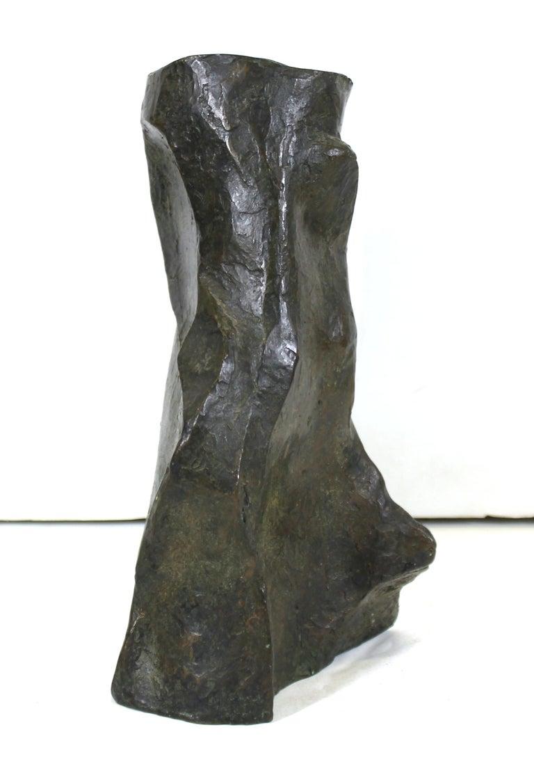 Late 20th Century Marvin Bell Modern Brutalist Bronze Sculpted Vase For Sale