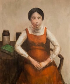 Portrait of Woman in Orange Dress, Oil Painting by Marvin Cherney