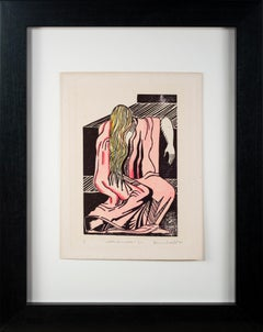 'Weeping Woman' original linocut signed by Marvin Hill, art deco pink