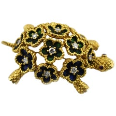 Marvin Hime 18k Gold Enameled Green and Blue Turtle with Diamonds and Ruby Eyes