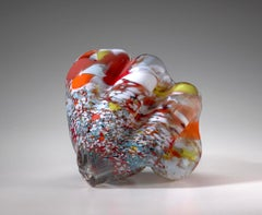 """Rona Series 2002 #4"", Blown, Glass, Sculpture, Organic, Shape, Colorful Pattern"