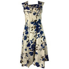 Marwi Cream and Navy Floral Sleeveless Dress, Size 40