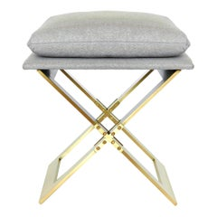 Marx Stool in Satin Brass with Upholstery by Gabriel Scott