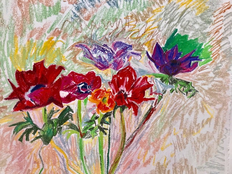 """Red Poppies"" - Post-Modern Mixed Media Art by Mary Abbott"