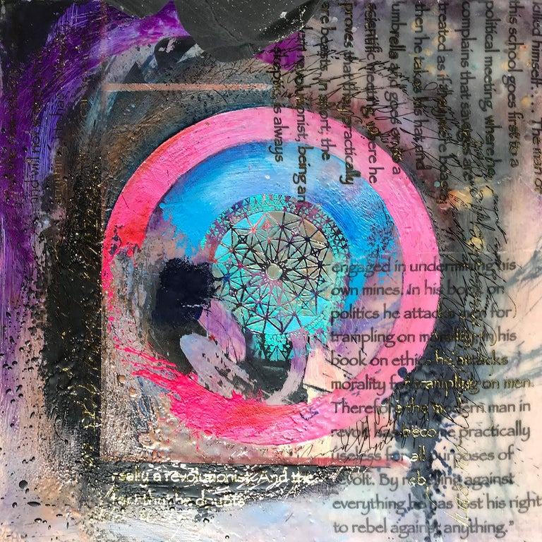 This is an abstract encaustic and oil painting that includes text printed on organza silk.  It is painted with bright and vivid colors and includes patterns, gestural abstraction and dripped and spattered paint as an element of design.  It is