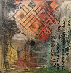 """""""It's a Possibility"""", abstract, encaustic and oil painting, earth tones"""