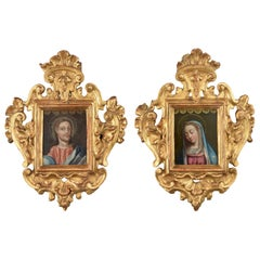 """""""Mary and Jesus"""" Pair of Paintings on Copper with Wood Frames, 17th-18th Century"""