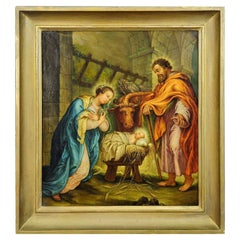 Mary and Joseph in the Barn of Bethlehem, Oil Painting on Canvas