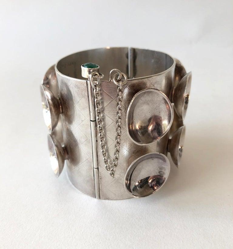 Women's Mary Ann Scherr Sterling Silver Emerald American Modernist Cuff Bracelet For Sale