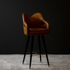 Mary Bar Chair Wood Black Stain Caramel Leather Brushed Brass