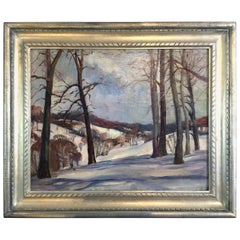 Mary Burgess Snowscape Pennsylvania Impressionist Oil Painting on Canvas